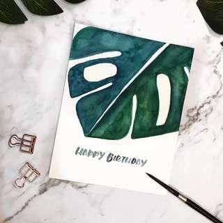 Custom Watercolour Birthday Card