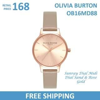 🚚 Olivia Burton Ladies Watch Sunray Dial Midi Dial Sand & Rose Gold OB16MD88