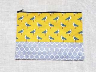 Instock - Exclusively designed handmade canvas zip pouch/clutch - yellow seagull lavender tile