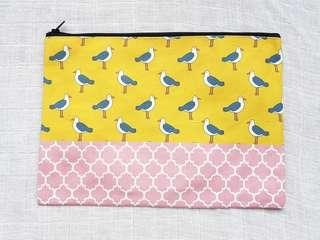 Instock - Exclusively designed handmade canvas zip pouch/clutch - yellow seagull pink tile
