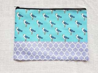 Instock - Exclusively designed handmade canvas zip pouch/clutch - sky blue seagull lavender tile