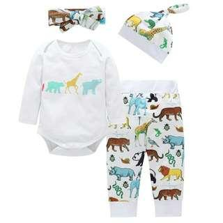 Set Infant Boys Clothes Set Newborn Baby Girl Clothing Toddler Cotton Tops+Pants+Hat+Bow Headband 4Pcs Outfit Sets