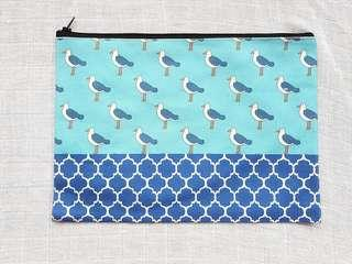 Instock - Exclusively designed handmade canvas zip pouch/clutch - sky blue seagull navy tile