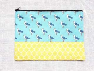 Instock - Exclusively designed handmade canvas zip pouch/clutch - sky blue seagull yellow tile