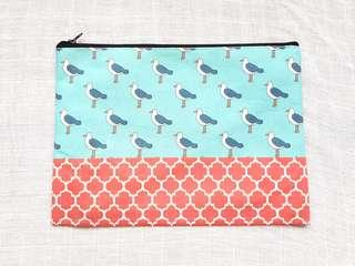 Instock - Exclusively designed handmade canvas zip pouch/clutch - sky blue seagull brick red tile