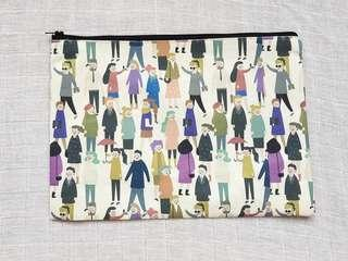 Instock - Exclusively designed handmade canvas zip pouch/clutch - passerbys
