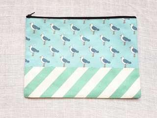 Instock - Exclusively designed handmade canvas zip pouch/clutch - sky blue seagull mint stripe