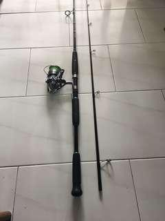 "Used 8'5""ft rod and Daiwa 4000 reel"