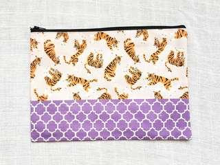Instock - Exclusively designed handmade canvas zip pouch/clutch - pink tiger purple tile