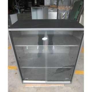【尚典中古二手家具】中古資料櫃(二手鐵櫃)鐵灰玻璃推門文件櫃(優美)