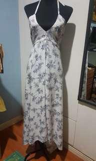 Halter white floral dress