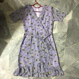 Lilac Floral Wrap Dress