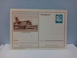 Vintage Germany Postal card Airport Aircrafts