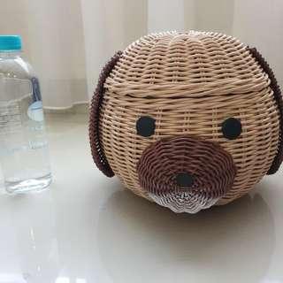 Hampers / keranjang /dekorasi rotan gambar kepala anjing handmade