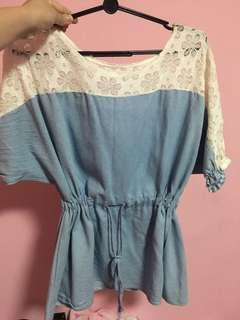 Blue Top with White Lace Details