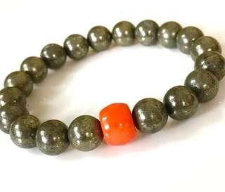 Pyrite & Coral Bracelet