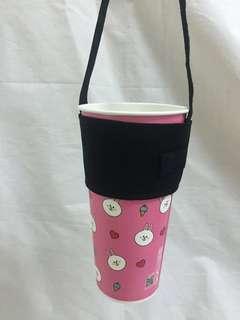 🚚 手做-素色黑環保杯套 杯套 飲料提袋 好收納/可插吸管/可客製