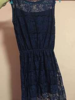 Navy Blue Laced Asymmetrical Dress