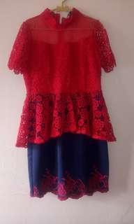Dress brokat peplum
