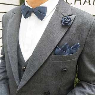 Bow tie blue checkered bow tie big day wedding
