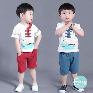 Kids Boy Traditional Chinese Costume CNY 2PCS Clothing Set