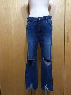 🚚 韓版刷破直筒牛仔褲