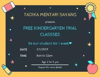 WONDERFUL NEWS - FREE TRIAL CLASS Available (2-5years old)