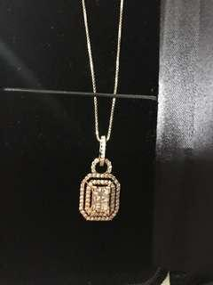 Rose gold necklace 1 carat diamond