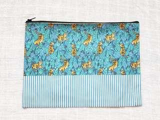 Instock - Exclusively designed handmade canvas zip pouch/clutch - blue tiger blue stripe