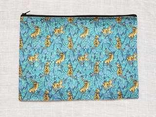 Instock - Exclusively designed handmade canvas zip pouch/clutch - blue tigers