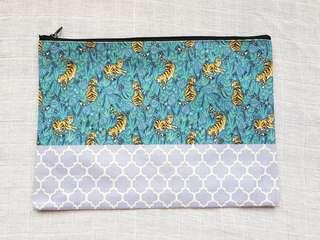 Instock - Exclusively designed handmade canvas zip pouch/clutch - blue tiger lavender stripe