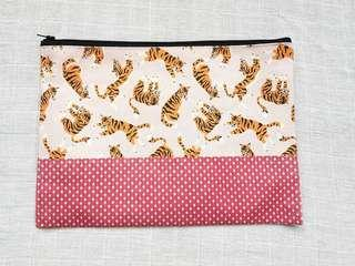 Instock - Exclusively designed handmade canvas zip pouch/clutch - pink tigers red polka