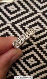 Tapered baguette white sapphire silver ring