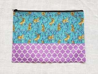 Instock - Exclusively designed handmade canvas zip pouch/clutch - blue tigers purple tile