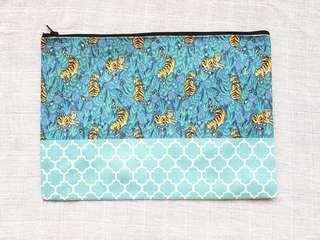 Instock - Exclusively designed handmade canvas zip pouch/clutch - blue tiger turquoise tile