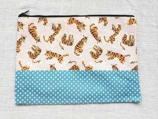 Instock - Exclusively designed handmade canvas zip pouch/clutch - pink tiger blue polka