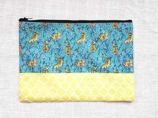 Instock - Exclusively designed handmade canvas zip pouch/clutch - blue tiger yellow tile