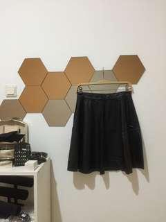 Zara, Black Leather Skirt #onlinesale