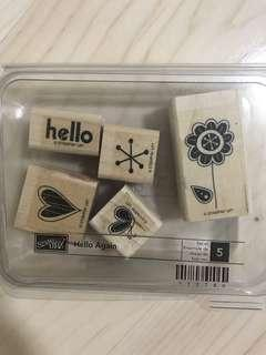 Stampin' up retired wooden rubber stamp - hello again