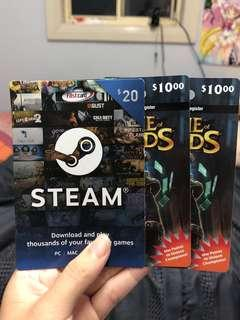 Steam and league of legends gift card