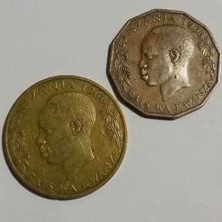 Tanzania 1966 , 20 Senti & 5 Senti Coins