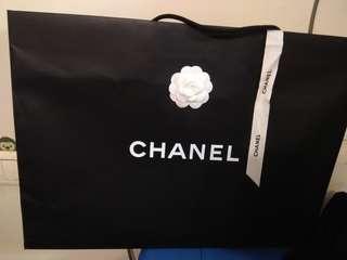 全新 正版 Chanel 名牌大紙袋 連絲帶