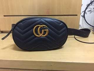 Belt waist bag tas pingang Gucci GG marmont black premium