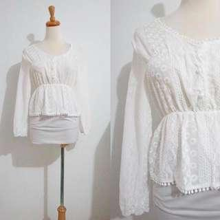 White Crochet Long Sleeved Top
