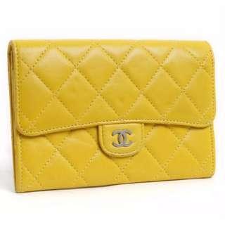 692fda67f34f Authentic #1760 Chanel Matelasse Wallet Lamb Skin CC Logo Yellow A32505