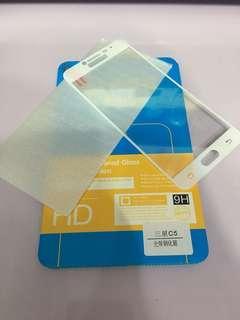 Samsung c5/c5por白色玻璃鋼化膜