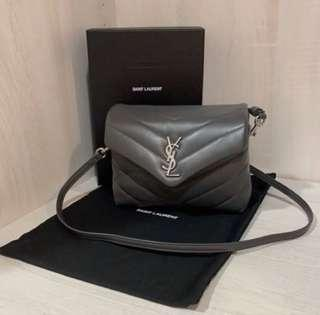 YSL Toy Loulou leather shoulder bag  灰 小方包 手提包 現貨