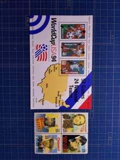 1994美國世界杯小全張及影星4全新票