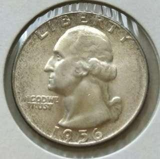 USA 1956 Quarter Dollar Unc Silver Coin With Luster