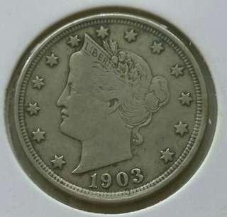 USA 1903 Liberty 5 Cents Coin With Good Details And Strong Liberty.Diameter 21.2mm